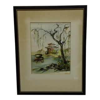 """Garden Pot"" Framed & Matted Original Print by Lois For Sale"