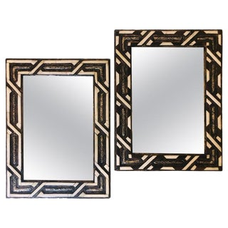 Moroccan Hollywood Regency Style White Bone Wall Console Mirrors - a Pair For Sale