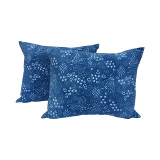 Faded Indigo Batik Pillows - A Pair