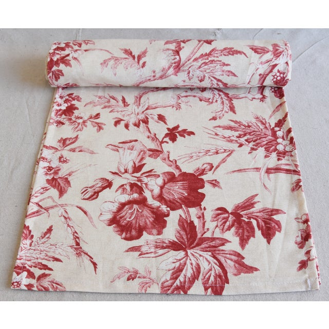 "Abstract Custom French Red & Ivory Trailing Floral Toile Table Runner 110"" Long For Sale - Image 3 of 7"