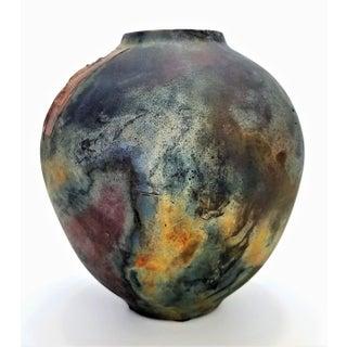 Vintage 1970s Studio Art Pottery Ceramic Raku Vase With Scarab Beetle Preview