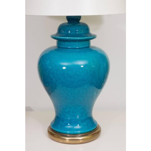 Pair of Mid-Century Ceramic Blue Lamps For Sale - Image 4 of 9