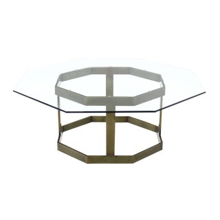 Octagonal Brass Base and Glass Top Coffee Table For Sale