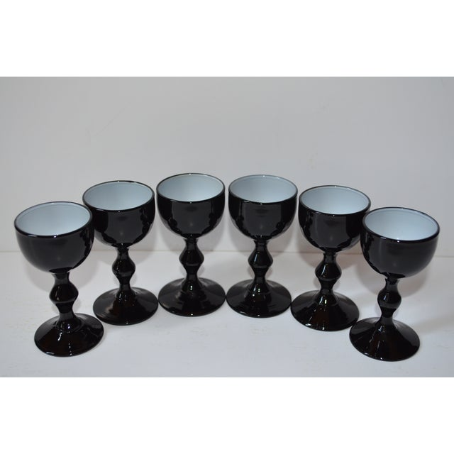 This is a set of six classy black and white cased Carlo Moretti cordial steams. They are made in Italy and in excellent...