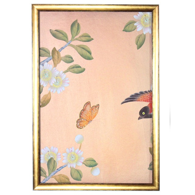 """Hand-painted chinoiserie silk wallpaper sample diptych (pair). Newly framed in solid ebonized wood Larson-Juhl 1.75"""" deep..."""