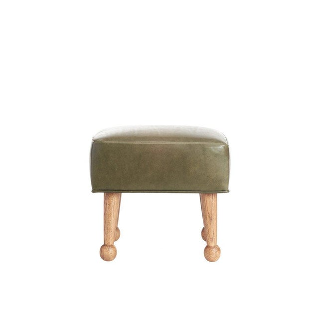 Sabin Mulholland Olive Green Leather Ottoman - Image 5 of 5