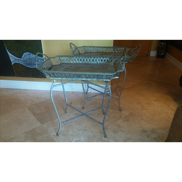 Silvery Indoor/ Outdoor Metal Tray Tables - Image 4 of 7