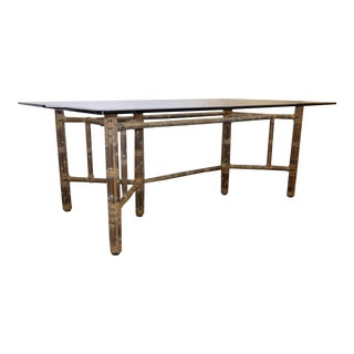 McGuire Bamboo and Laced Rawhide Rectangular Dining Table For Sale