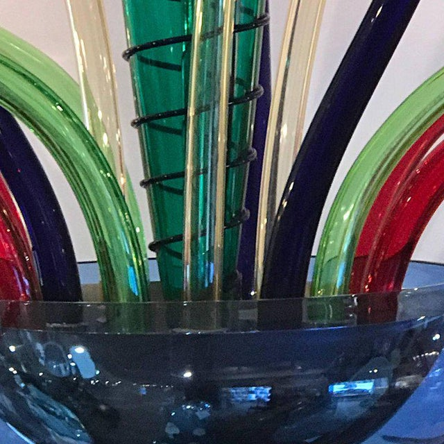 Colorful Italian Artimede Ve-Art Glass designed by Orni Halloween six-light chandelier in the manner of Gio Ponti.