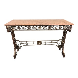 Art Nouveau Gilded Metal and Marble Entry Console For Sale