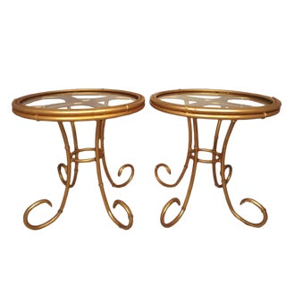 Mid Century Pair of Faux Bamboo Gilt Tables French Style Acanthus and Faux Bamboo Hollywood Regency Gold Side Tables For Sale