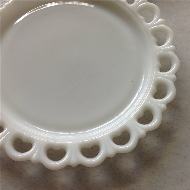 Lace Edge Milk Glass Cake Plates - Pair For Sale In Chicago - Image 6 of 9