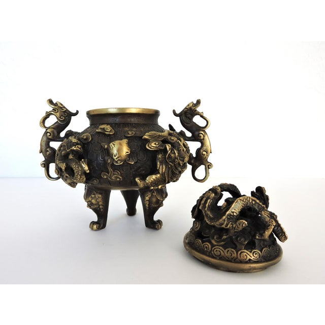 Vintage Chinese Solid Brass 'Dragon' Tripod Censer, Signed For Sale In Tampa - Image 6 of 8