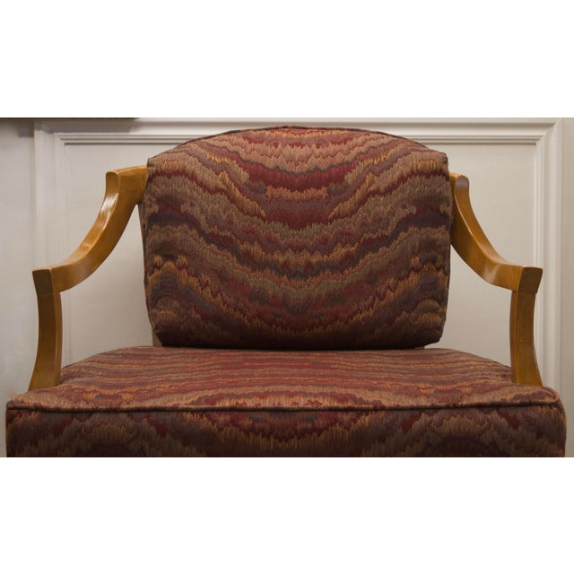 1960s Vintage Burgundy Flame Wood Low Profile Chairs with Cane Back - a Pair For Sale - Image 5 of 9