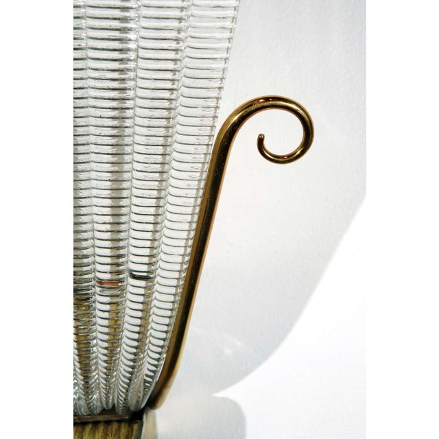 Italian 1950s Brass and Rippled Murano Glass Wall Sconces - a Pair For Sale - Image 3 of 10