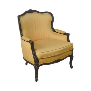 Meyer Gunther Martini (Mgm) Vintage French Louis XV Black Frame Bergere Chair For Sale