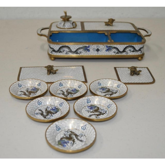 Blue & White Cloisonne Enameled Desk Set - Image 6 of 11