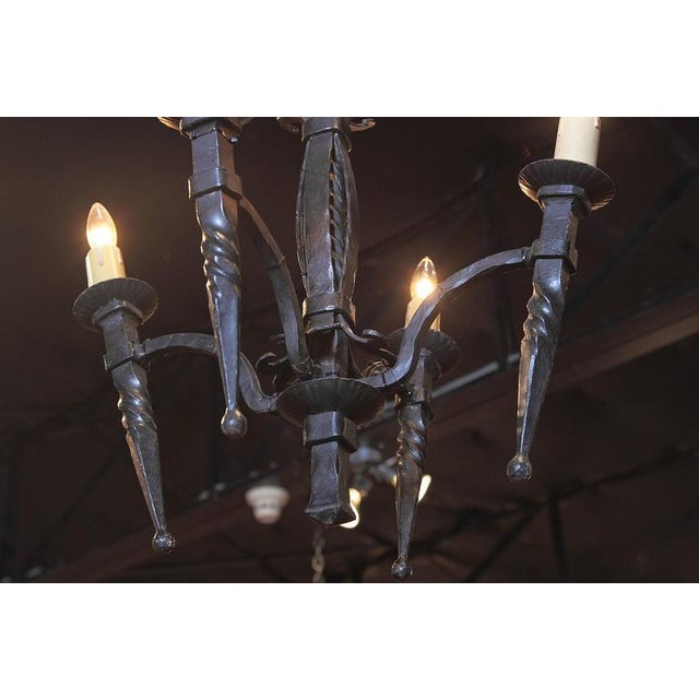19th Century French Gothic Forged Wrought Iron Four-Light Chandelier For Sale - Image 10 of 10