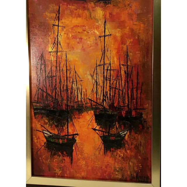 Vintage 1960s Abstract Sailboats Painting - Image 3 of 9