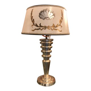 Panache Art Deco Silver Leaf Manhattan Table Lamp W Custom Designer Shade For Sale