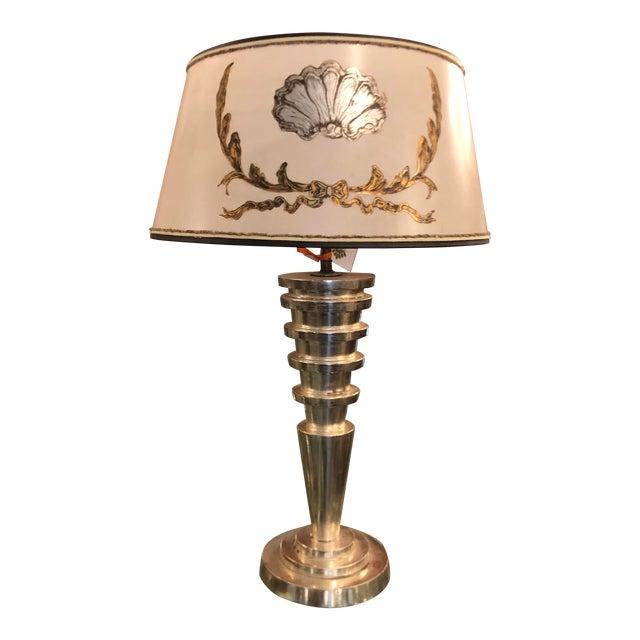 Panache Art Deco Silver Leaf Manhattan Table Lamp W Custom Designer Shade For Sale