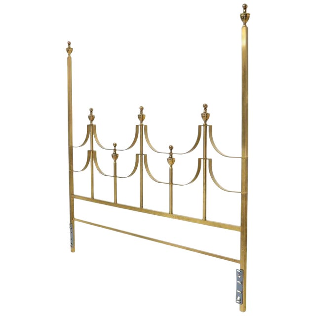 Solid Brass Mastercraft King Size Tall Headboard Bed For Sale