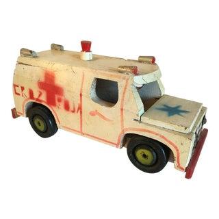 Antique Cruz Roja Mexican Folk Art Ambulance