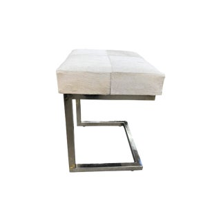 White Cowhide Stool With Chrome Legs For Sale