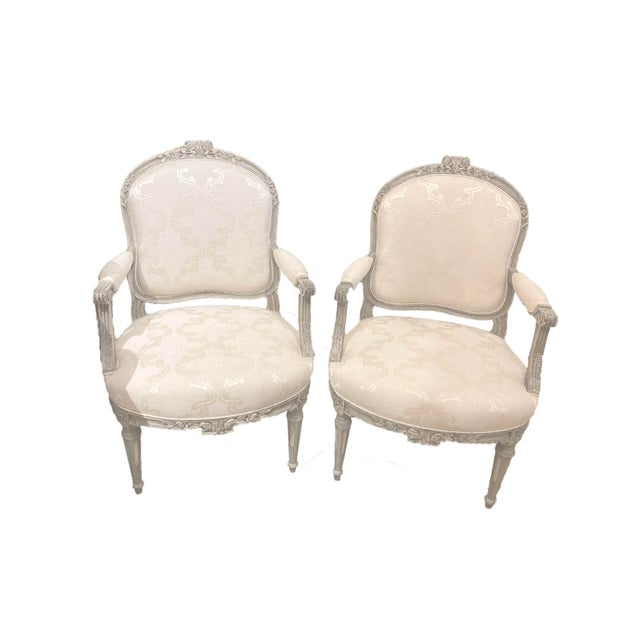 Wood Antique Painted French Chairs For Sale - Image 7 of 7