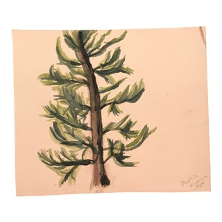1959 Vintage Phyllis Myrick Study of an Evergreen Painting For Sale