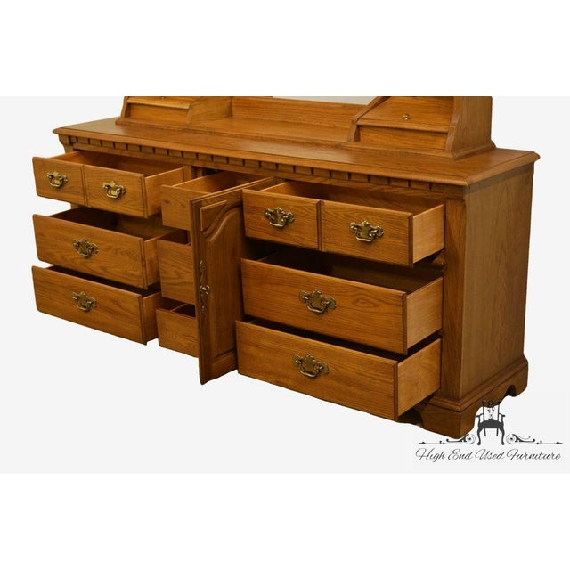 Brown Late 20th Century Vintage Thomasville Furniture Salem Tavern Collection Dresser & Mirror For Sale - Image 8 of 12