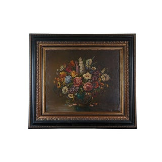 "20th Century Floral Still Life Oil Painting on Canvas Signed O. Arnold 42"" For Sale"
