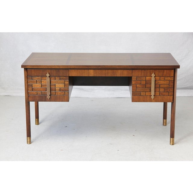 Walnut Desk With Graphic Wood Work and Brass Hardware, 1970s For Sale - Image 12 of 12