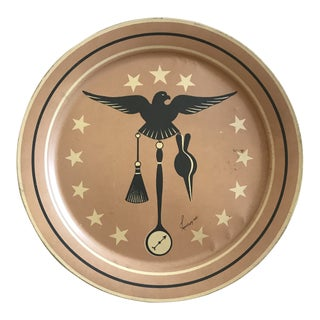 Midcentury Brown Eagle with Fireplace Motifs Tole Tray For Sale