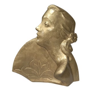 20th Century Art Deco Style Gold Plaster Statue of Lady with Fan For Sale