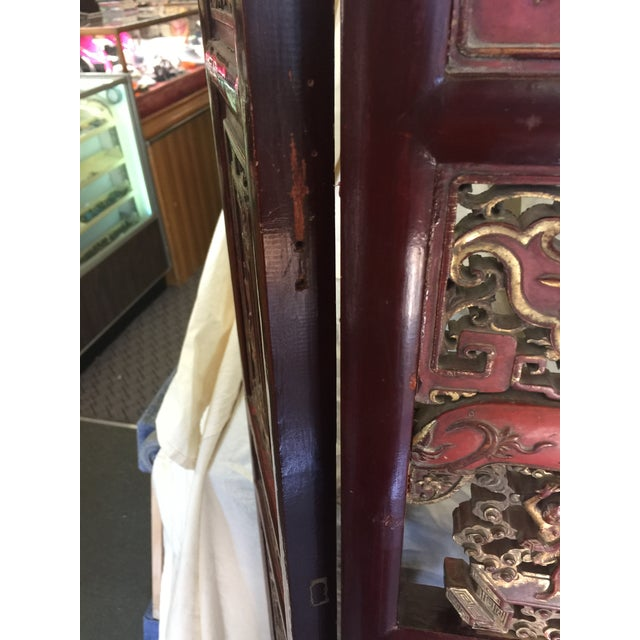 Gold Carved Antique Asian Screen Room Divider For Sale - Image 8 of 11