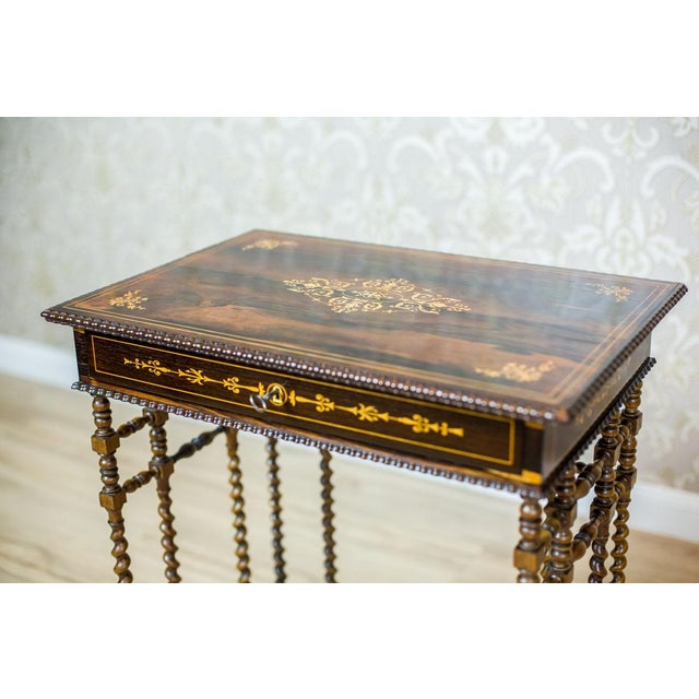 French French Intarsiated Table from the 19th Century For Sale - Image 3 of 13