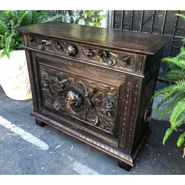 Late 19th Century Antique Italian Renaissance Carved Figural Chest For Sale - Image 5 of 6