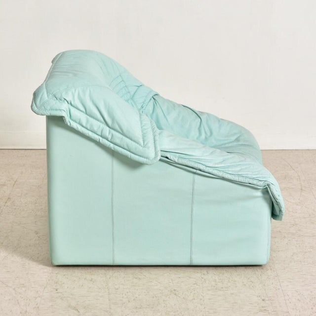"Leather 1980's Vintage Imbottiti Italian Mint Green Leather ""Wilma"" Lounge Chair For Sale - Image 7 of 10"