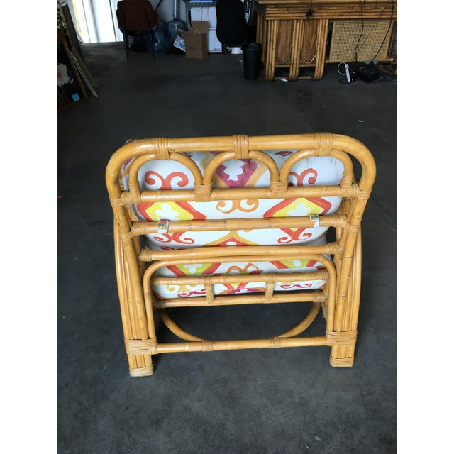 "Restored Three Strand ""Circles and Speed"" Rattan Lounge Chair With Ottoman For Sale In Los Angeles - Image 6 of 9"