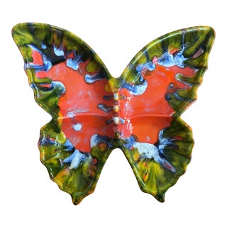 Mid Century Modern Drip Glaze Butterfly Tray/Dish For Sale