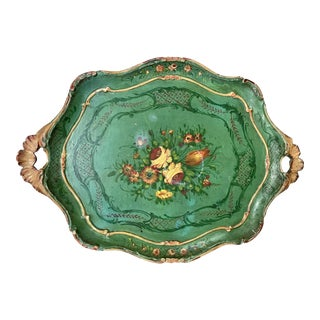Italian Venetian Carved Wood Painted Tray For Sale