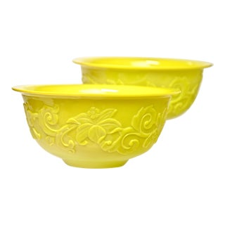 Mid 20th Century Large Peking Yellow Glass Bowls - a Pair For Sale