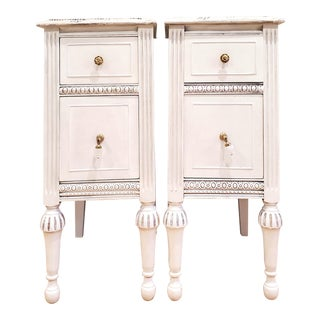 Vintage White Nightstands - a Pair For Sale
