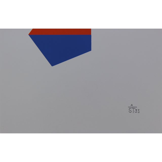 Abstract Anton Stankowski Classic Abstract Red & Blue Serigraph For Sale - Image 3 of 3