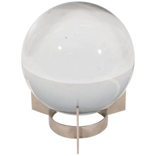 Baccarat Sirius Crystal Ball on Nickel Plate Stand by Jacques Adnet For Sale