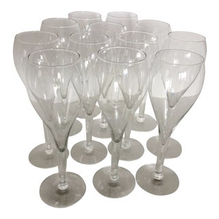 Mid Century Modern Tulip Shape Champagne Flutes - Set of 12 For Sale