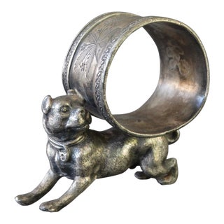 Late 19th C Victorian Bull Terrier Chased Silverplate Napkin Ring For Sale