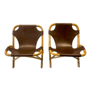 Italian Bamboo Sling Chairs- A Pair For Sale