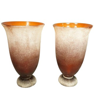 Pair of Large Karl Springer Murano Scavo Glass Table Lamps, Signed For Sale